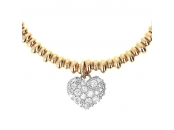 ALTISSIMA BRONZALLURE GOLDEN STRECHABLE ROUNDELS BRACELET WITH HEART CZ GEMSTONE PENDANT - WSBZ01134Y