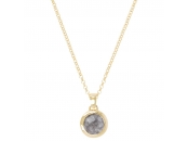 "CHARISMA BRONZALLURE GOLDEN 36"" nECKLACE W/ ROUND FACETED gemstone PENDANT - WSBZ00035Y"